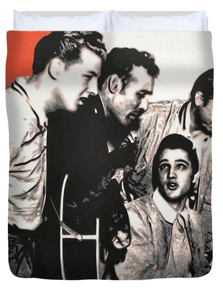 Million Dollar Quartet Duvet Cover by Luis Ludzska
