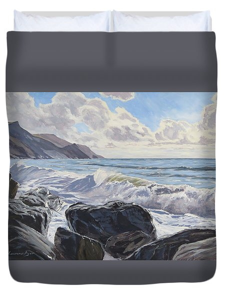 Duvet Cover featuring the painting Millook Haven by Lawrence Dyer