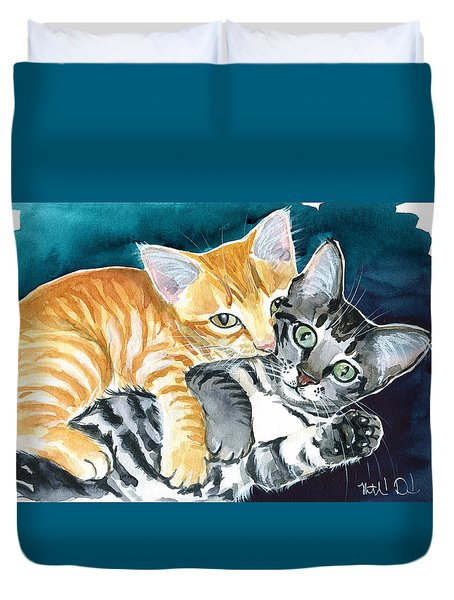 Milo And Tigger - Cute Kitty Painting Duvet Cover