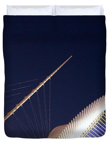 Milwaukee Art Museum At Night Duvet Cover