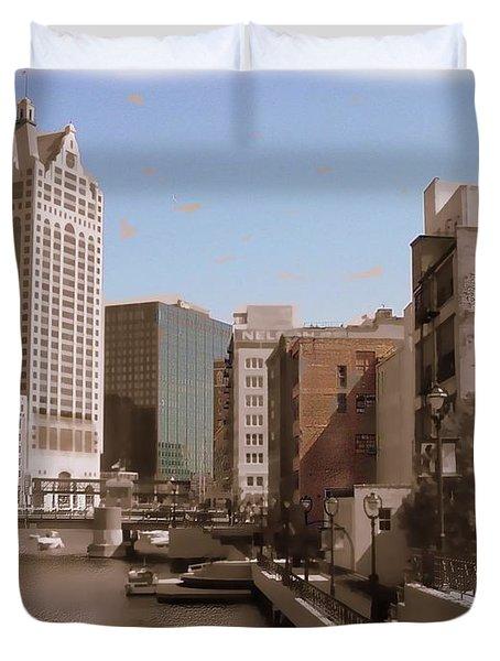Milwaukee Riverwalk Duvet Cover