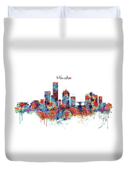 Duvet Cover featuring the mixed media Milwaukee Watercolor Skyline by Marian Voicu