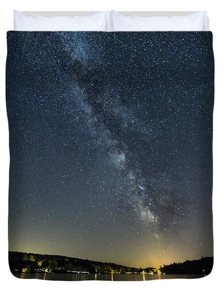 Milky Way From A Pontoon Boat Duvet Cover by Patrick Fennell