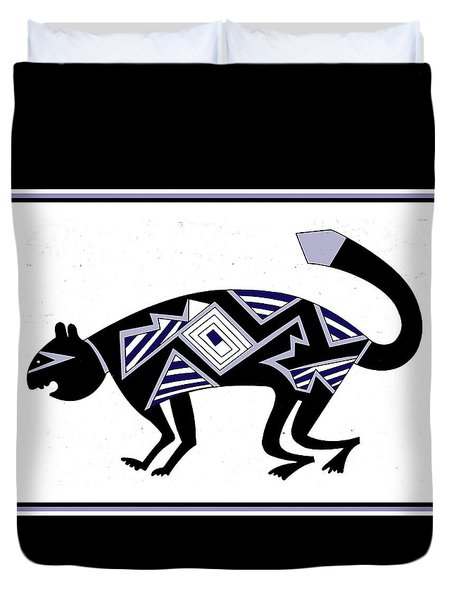 Duvet Cover featuring the digital art Mimbres Mountain Lion by Vagabond Folk Art - Virginia Vivier