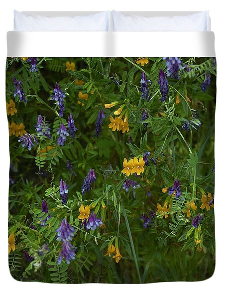 Mimulus And Vetch Duvet Cover by Doug Herr
