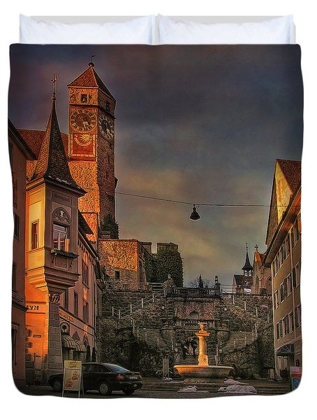 Duvet Cover featuring the photograph Main Square by Hanny Heim