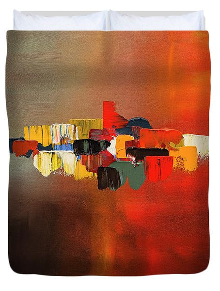 Duvet Cover featuring the painting Mindful - Abstract Art by Carmen Guedez