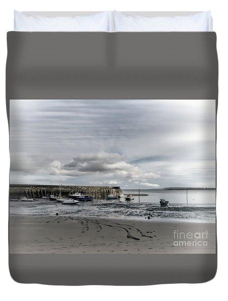 Minehead Harbour Somerset England Duvet Cover