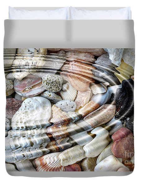 Duvet Cover featuring the digital art Minerals And Shells by Michal Boubin