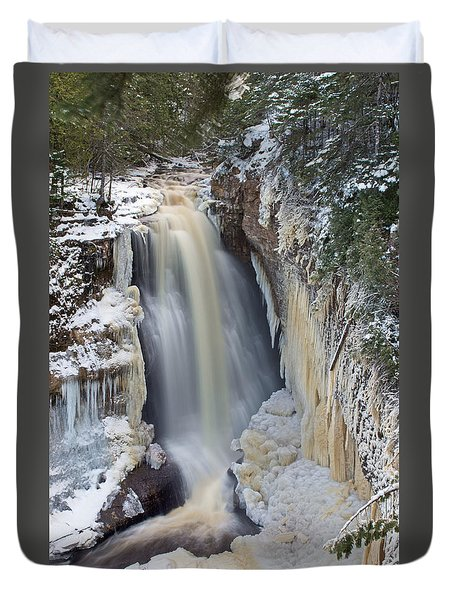Miners Falls In The Snow Duvet Cover