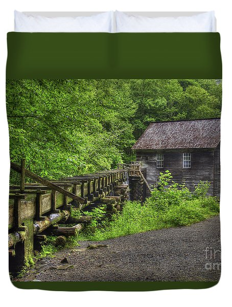 Duvet Cover featuring the photograph Mingus Mill 2 Mingus Creek Great Smoky Mountains Art by Reid Callaway