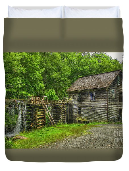 Duvet Cover featuring the photograph Mingus Mill 3 Mingus Creek Great Smoky Mountains Art by Reid Callaway