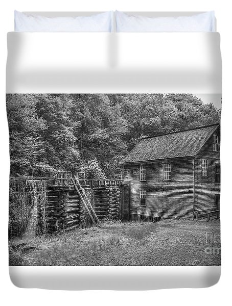 Duvet Cover featuring the photograph Mingus Mill Black And White Mingus Creek Great Smoky Mountains Art by Reid Callaway
