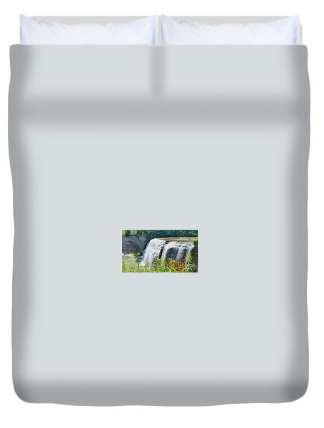 Duvet Cover featuring the photograph Mini Falls by Raymond Earley