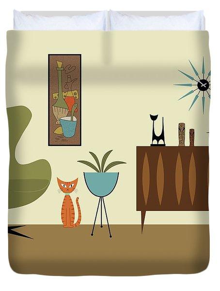 Mini Gravel Art With Orange Cat Duvet Cover