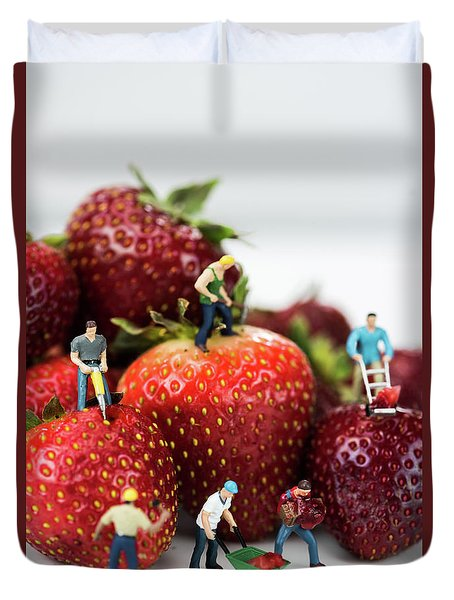 Miniature Construction Workers On Strawberries Duvet Cover