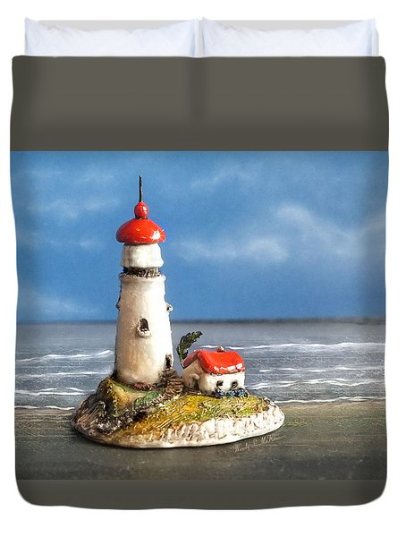 Miniature Lighthouse Duvet Cover by Wendy McKennon