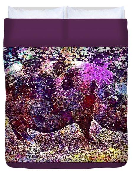 Duvet Cover featuring the digital art Miniature Pig Pregnant Animal Pig  by PixBreak Art