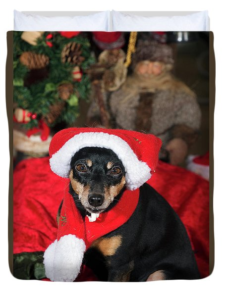 Miniature Pinscher Wishing A Merry Christmas Duvet Cover by Christian Lagereek