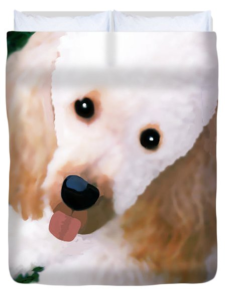 Miniature Poodle Albie Duvet Cover by Marian Cates