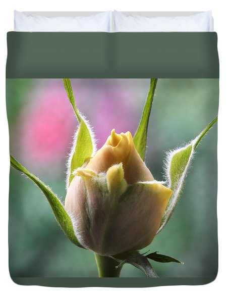 Miniature Rose Bud. Duvet Cover