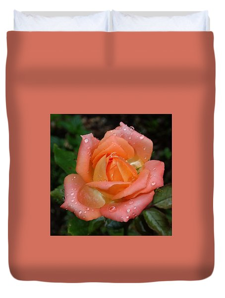 Duvet Cover featuring the photograph Miniature Wet Rose by Farol Tomson