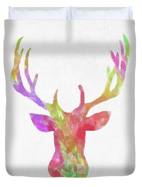 Minimal Abstract Deer Head Watercolor Duvet Cover