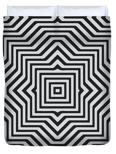 Minimal Geometrical Optical Illusion Style Pattern In Black White T-shirt  Duvet Cover