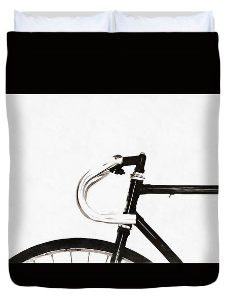 Minimalist Bicycle Painting Duvet Cover