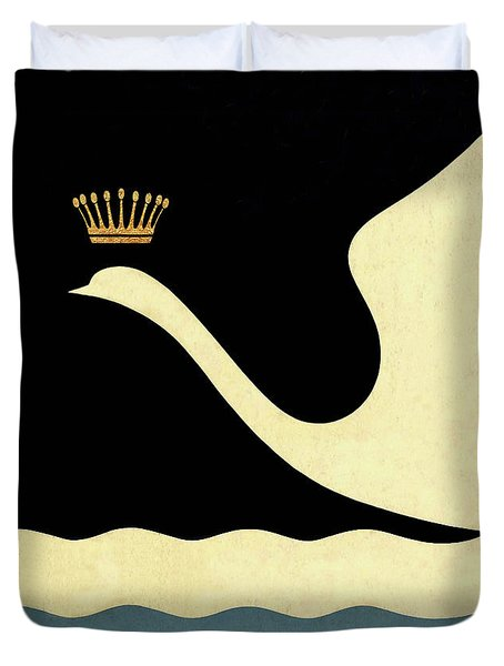 Minimalist Swan Queen Flying Crowned Swan Duvet Cover by Tina Lavoie