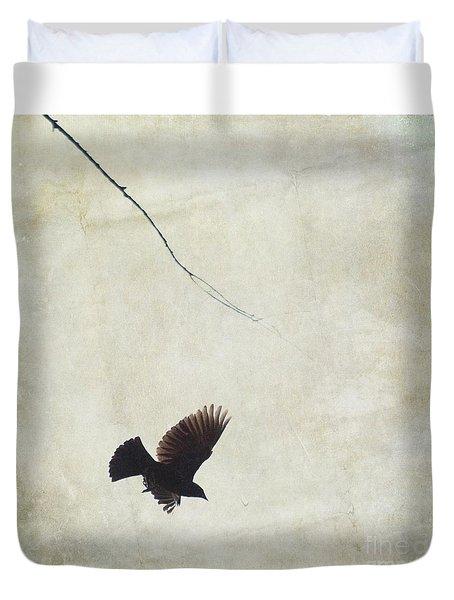 Minimalistic Bird In Flight  Duvet Cover by Aimelle