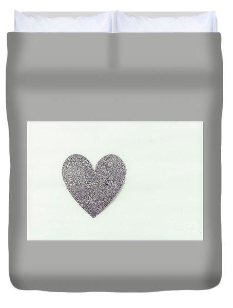 Minimalistic Silver Glitter Heart Duvet Cover