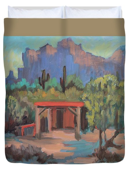 Duvet Cover featuring the painting Mining Camp At Superstition Mountain Museum by Diane McClary