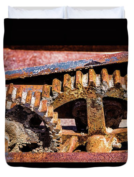 Duvet Cover featuring the photograph Mining Gears by Onyonet  Photo Studios