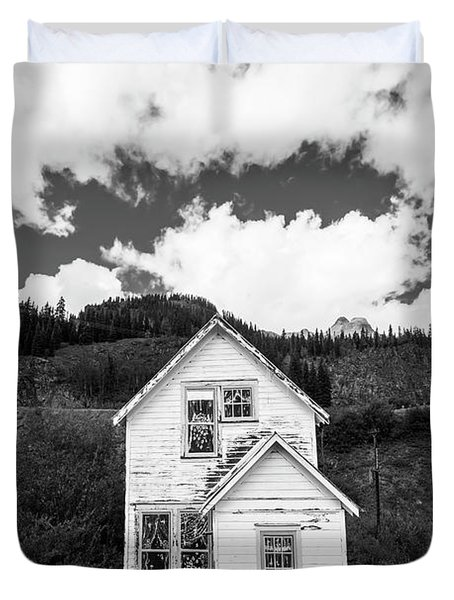 Mining Home In Silverton In Black And White Duvet Cover
