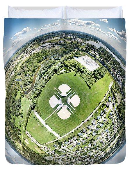 Duvet Cover featuring the photograph Miniwaukan Park Little Planet by Randy Scherkenbach