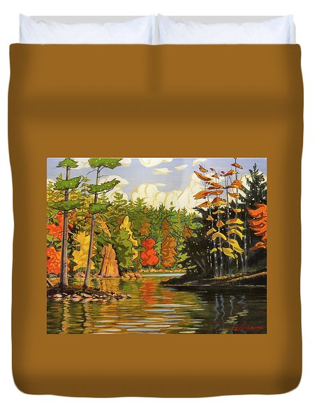 Mink Lake Narrows Duvet Cover by David Gilmore
