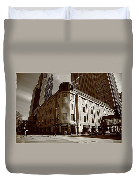 Duvet Cover featuring the photograph Minneapolis Downtown Sepia by Frank Romeo