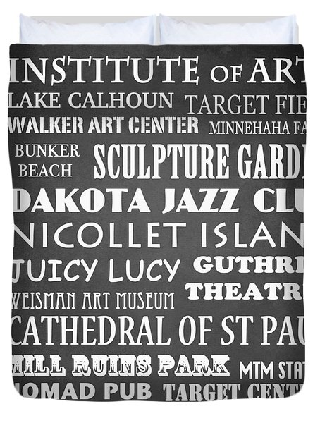 Minneapolis Famous Landmarks Duvet Cover