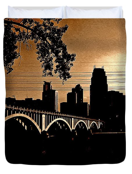Minneapolis Skyline In Copper Duvet Cover by Tom Reynen