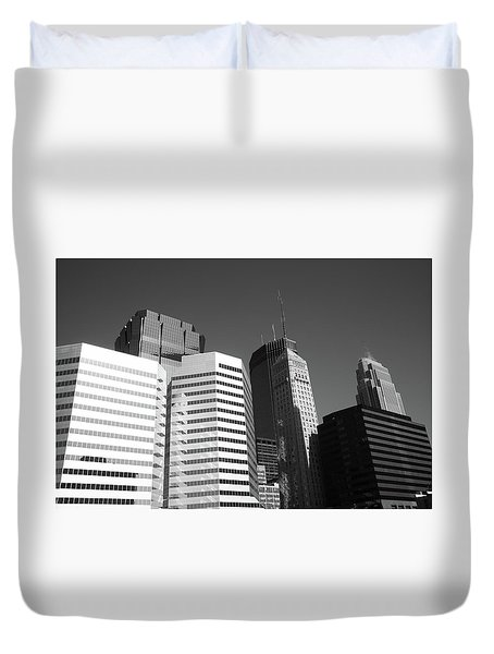 Duvet Cover featuring the photograph Minneapolis Skyscrapers Bw 5 by Frank Romeo