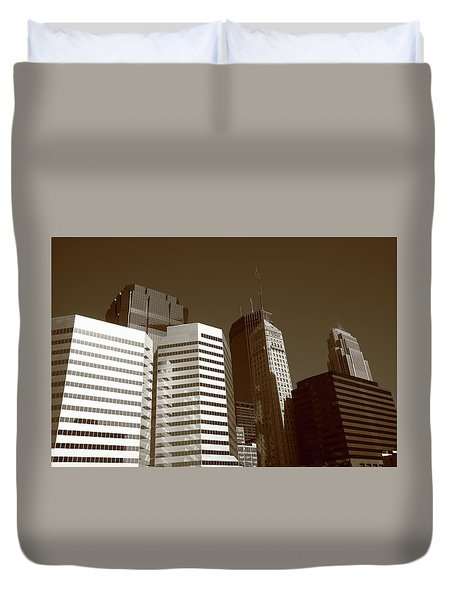 Duvet Cover featuring the photograph Minneapolis Skyscrapers 5 Sepia by Frank Romeo