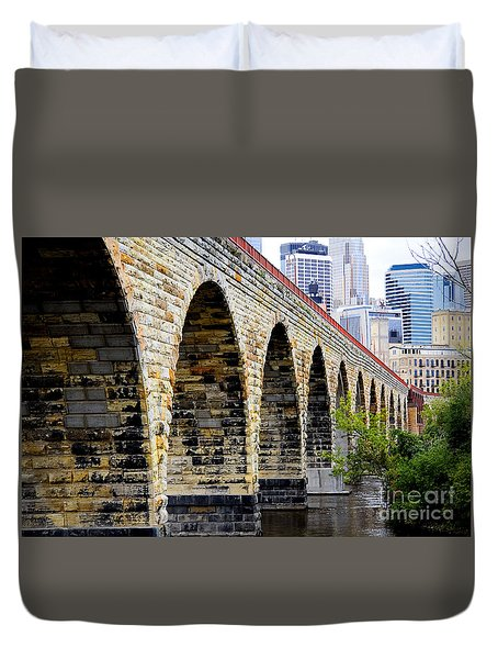 Minneapolis Stone Arch Bridge Old And New Duvet Cover
