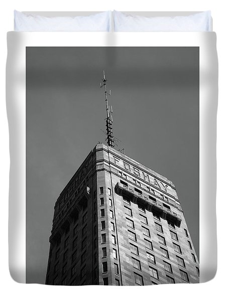 Duvet Cover featuring the photograph Minneapolis Tower 6 Bw by Frank Romeo