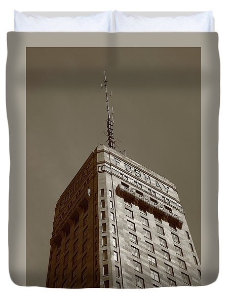 Duvet Cover featuring the photograph Minneapolis Tower 6 Sepia by Frank Romeo