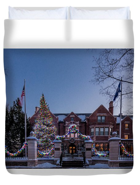 Duvet Cover featuring the photograph Christmas Lights Series #6 - Minnesota Governor's Mansion by Patti Deters