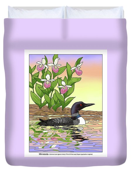 Minnesota State Bird Loon And Flower Ladyslipper Duvet Cover