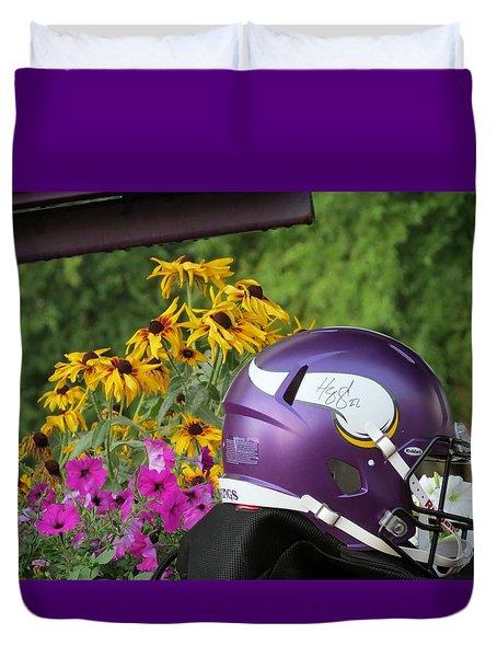 Minnesota Vikings Helmet Duvet Cover
