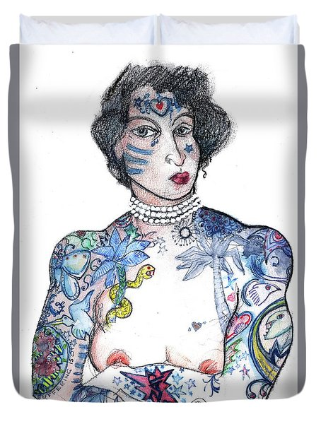 Duvet Cover featuring the mixed media Minnie - An Homage To Maud Wagner, Tattoos  by Carolyn Weltman