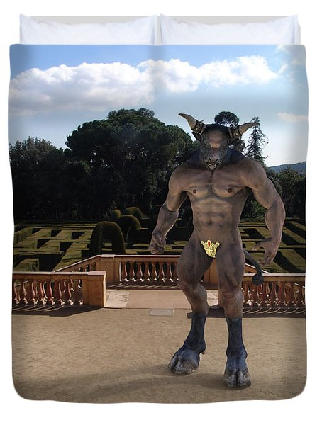 Minotaur In The Labyrinth Park Barcelona. Duvet Cover by Joaquin Abella
